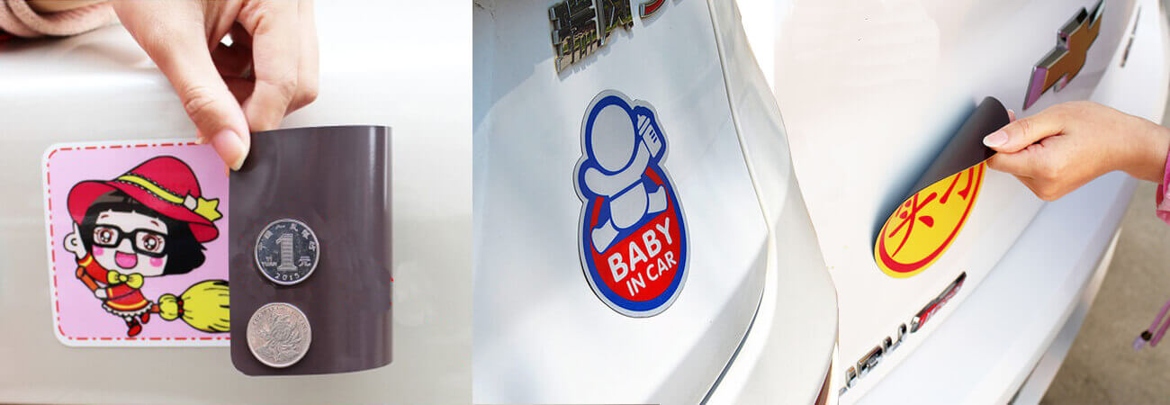 Flexible magnetic reflective car stickers