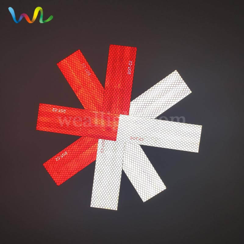 Red and White Reflective Strips