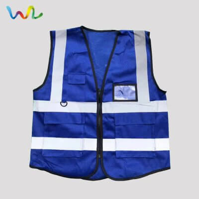 Blue Mesh Safety Vest With Pockets Wholesale Supplier